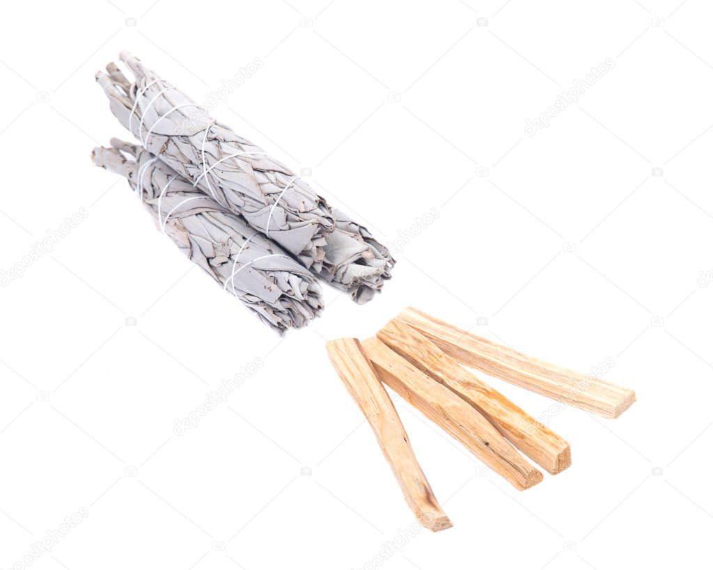 Sage and palo santo smudging sticks