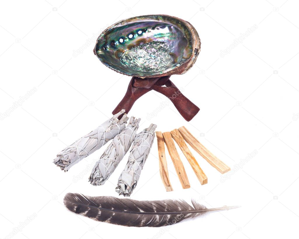 Sage smudge stick, rainbow abalone shell and palo santo smudging sticks