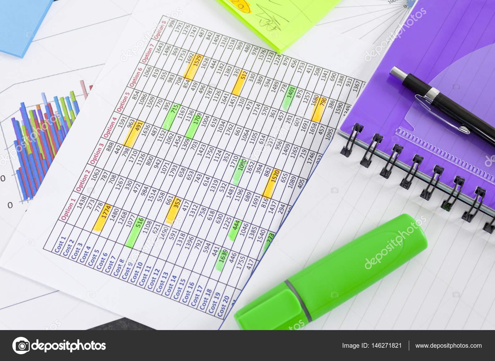 Grünen Textmarker und Notizblock Verlegung auf einem Arbeitsblatt ...