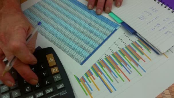 Finanční pracovník u stolu pomocí caclculator