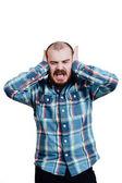 Fotografie Porträt eines rotbärtige, Glatzenbildung männlichen brutal. Weiß isolierte b