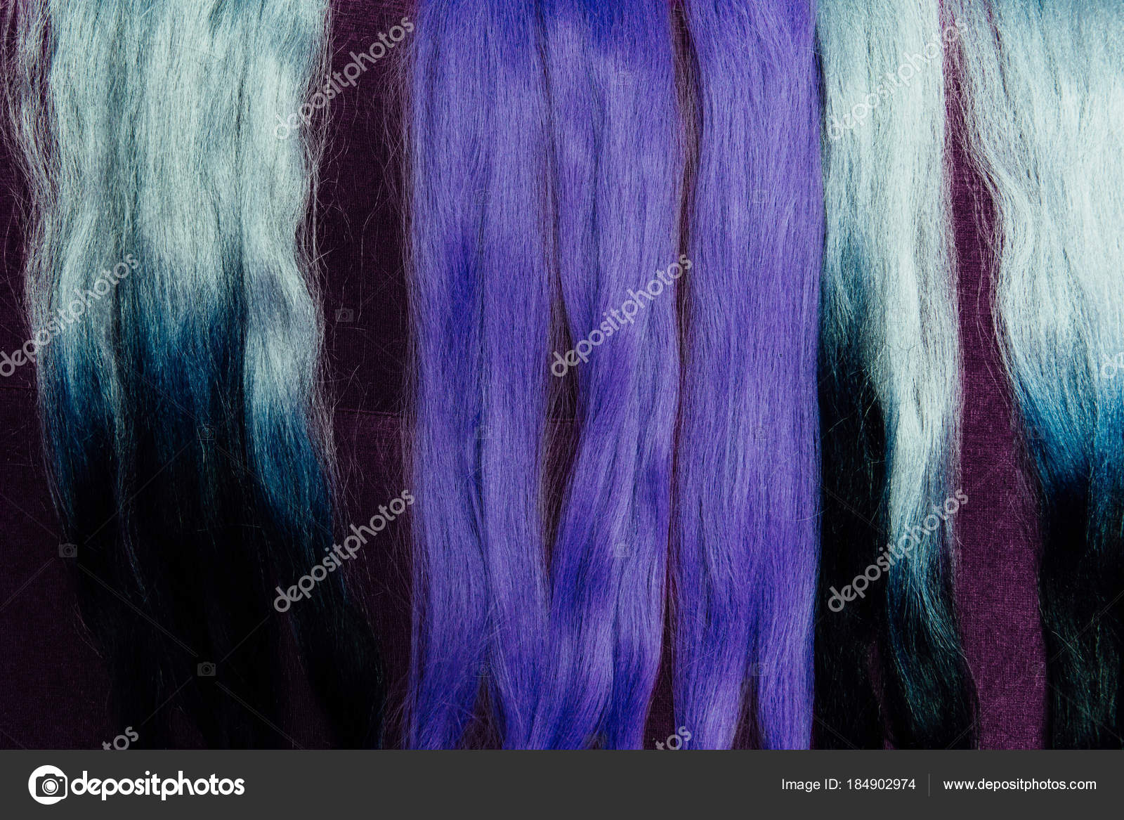 Set Of Locks Different Purple Hair Color Samples Braiding With