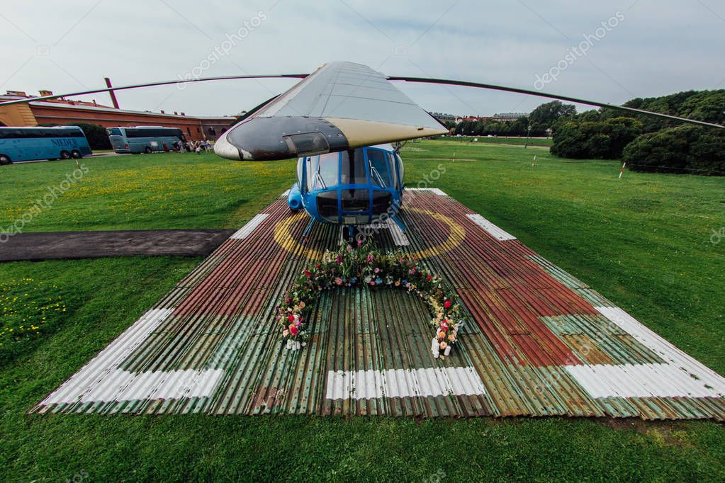 Wedding arch for registration on the helipad.