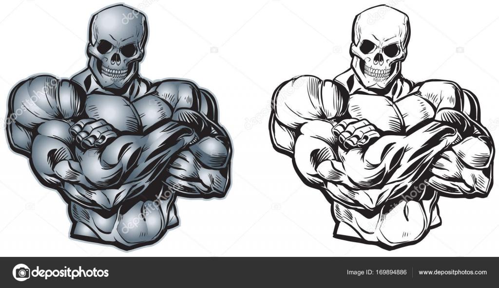 Vector Cartoon muskulösen Oberkörper mit Schädel Kopf — Stockvektor ...