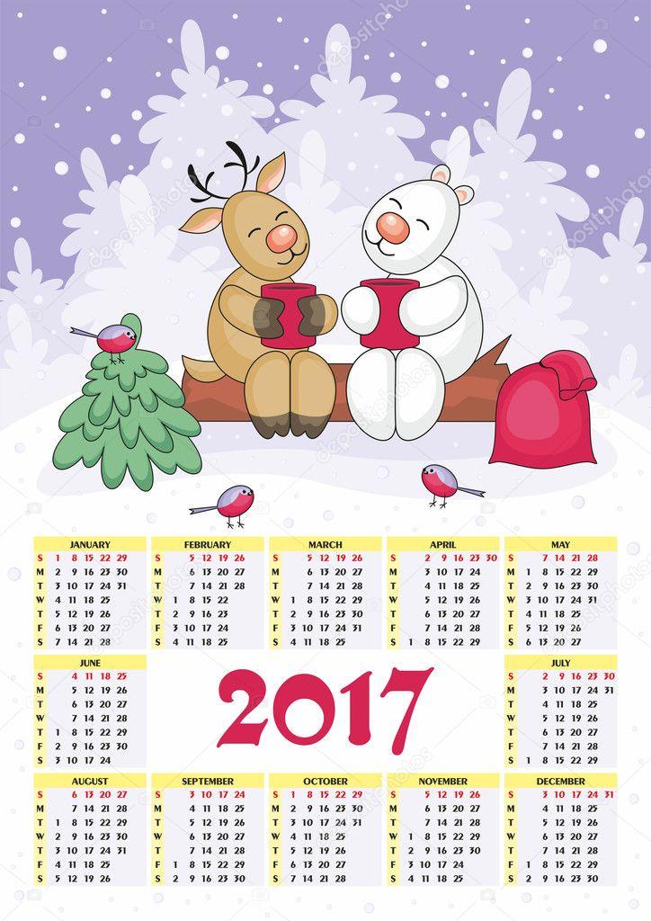 Calendario de Navidad 2017 Archivo Imgenes Vectoriales