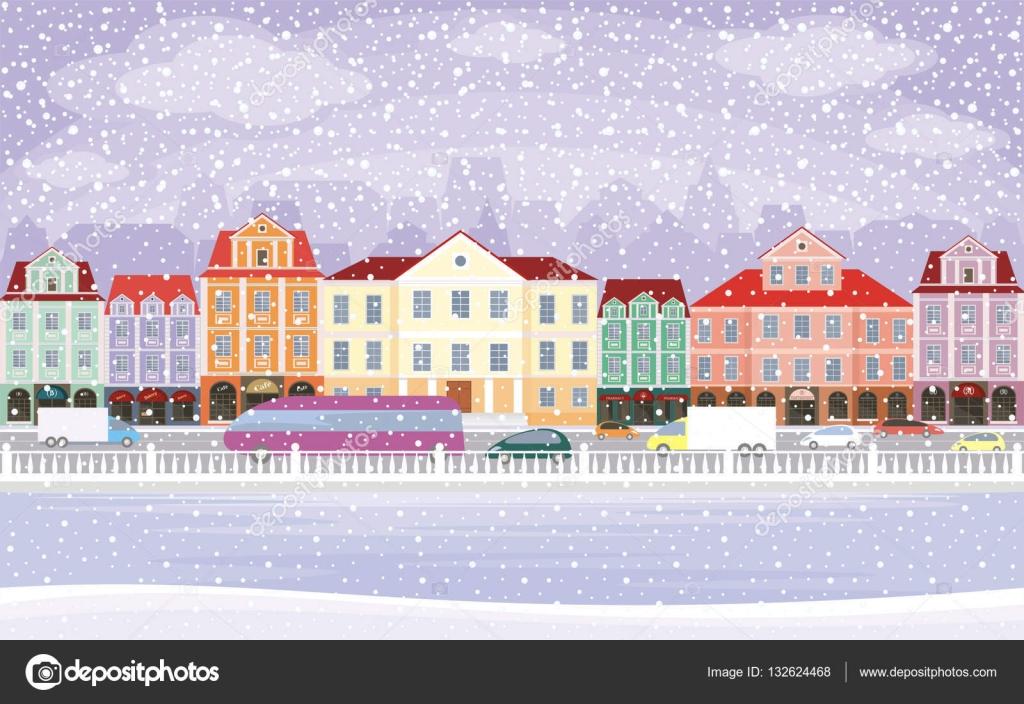 Super Snowy Town Background Stock Vector C Belova8516 Yandex Ru Interior Design Ideas Skatsoteloinfo