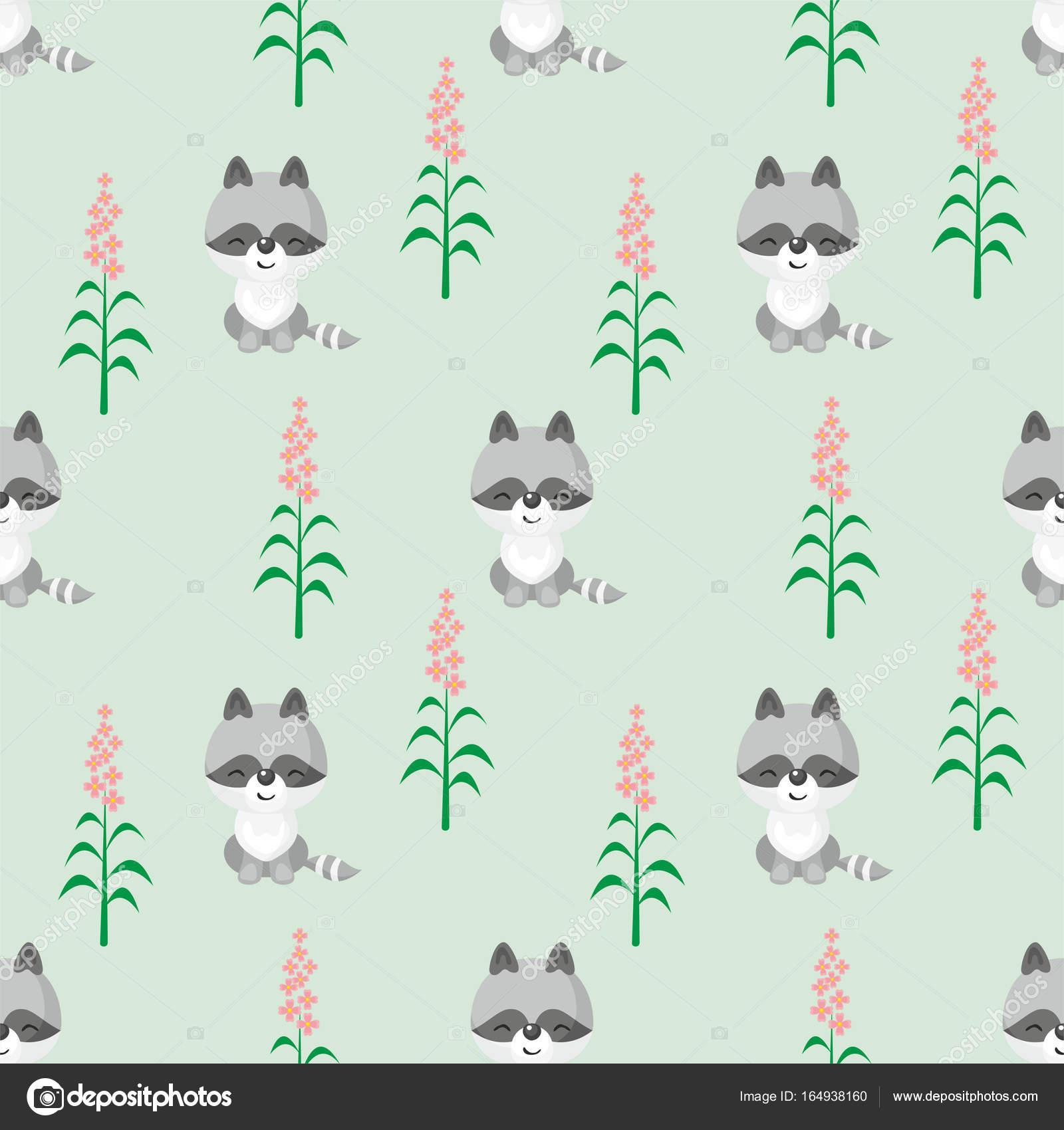 patrón lindo mapache — Archivo Imágenes Vectoriales © belova8516 ...
