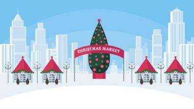 """Картина, постер, плакат, фотообои """"рождественская ярмарка в большом городе постеры"""", артикул 172018442"""