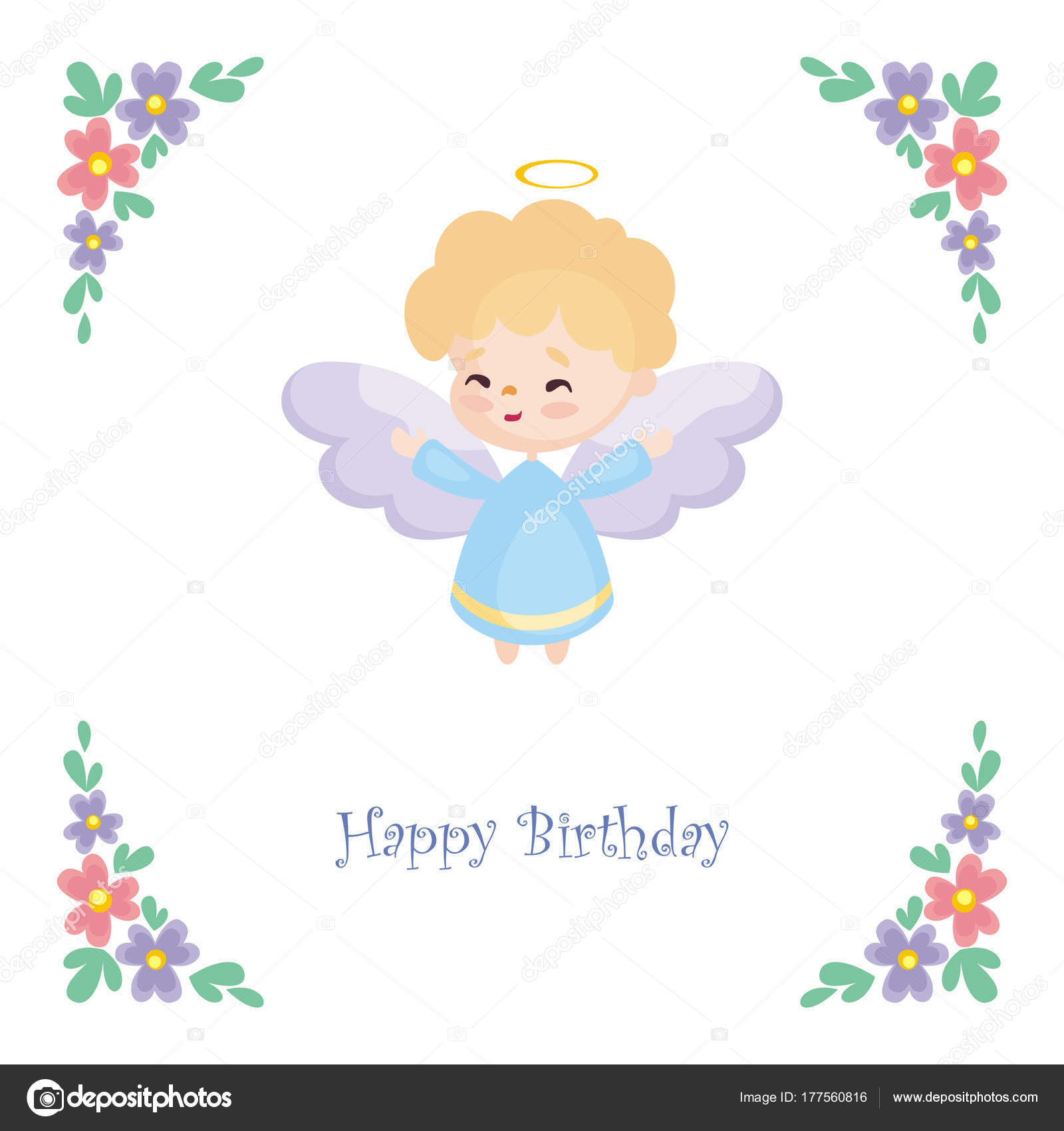 Birthday greeting card image pretty little angel vector illustration birthday greeting card image pretty little angel vector illustration white stock vector m4hsunfo