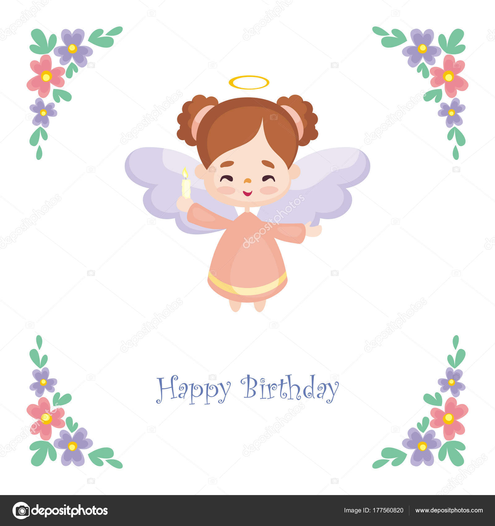 Birthday greeting card image pretty little angel vector illustration birthday greeting card image pretty little angel vector illustration white stock vector m4hsunfo