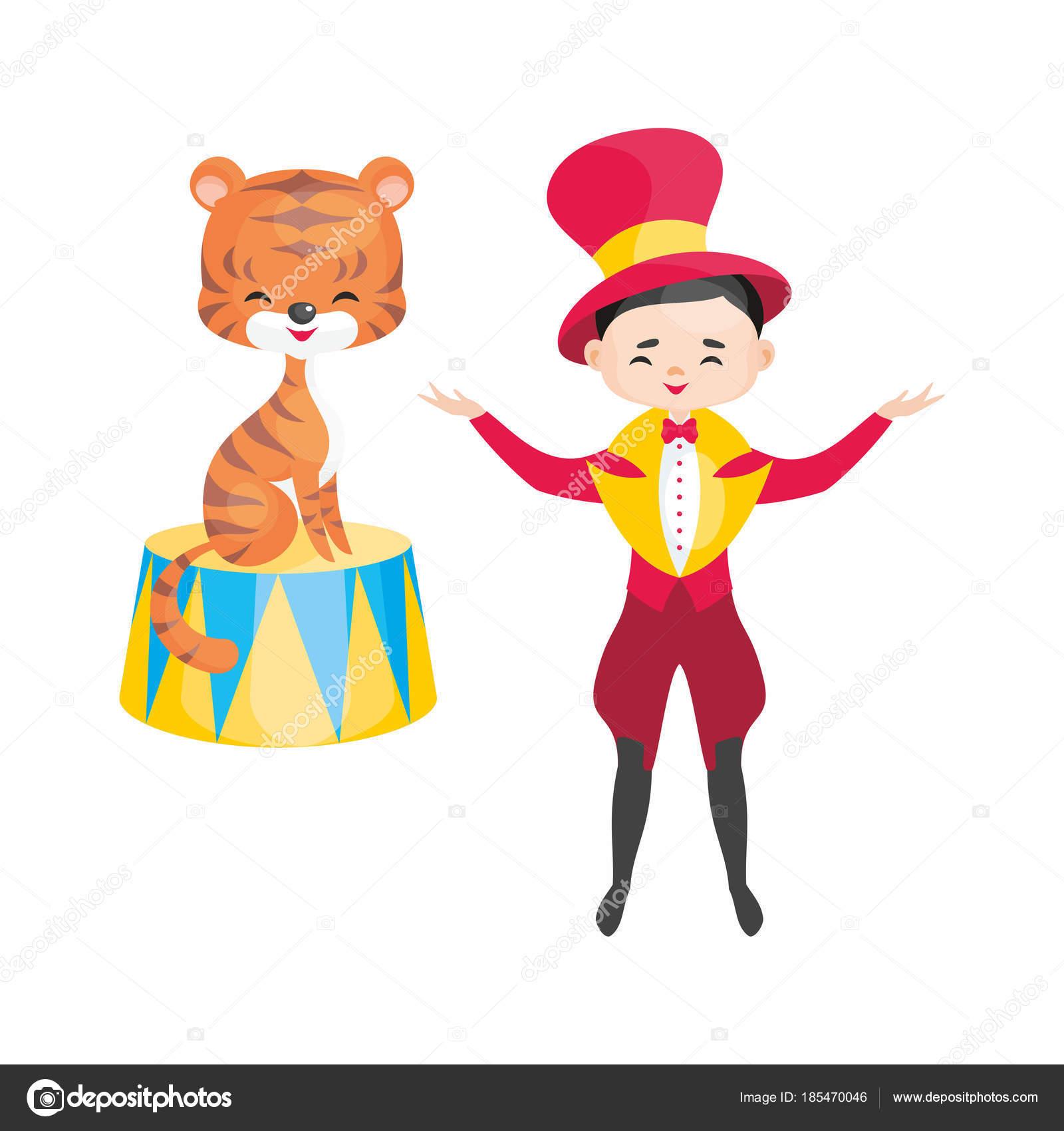 漫画のスタイルで訓練されたサーカスの動物のベクトル画像 白い背景に