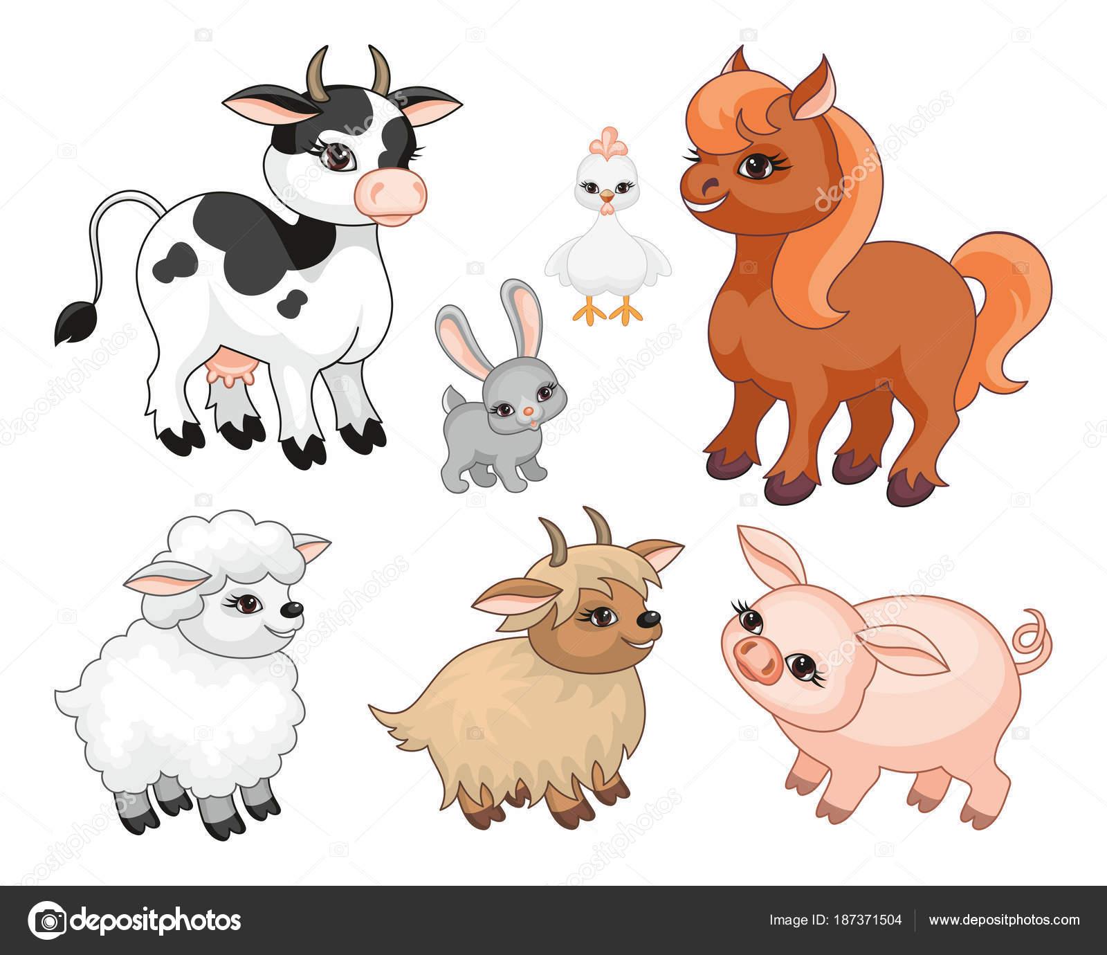 Immagine animali fattoria carino stile cartone animato