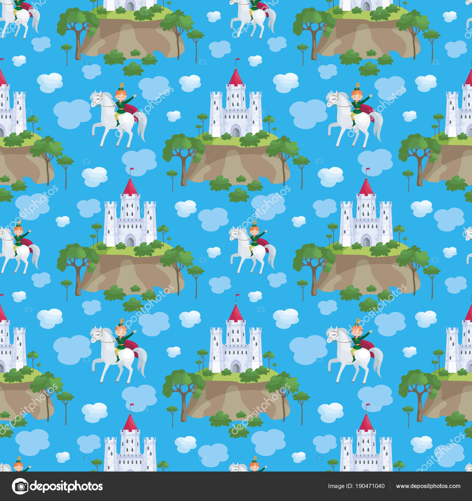 Colorful Seamless Pattern Picture Fairytale Castle Prince