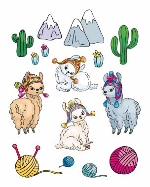 Little pretty llamas in doodle style. Colorful illustrations isolated on a white background. Vector set.