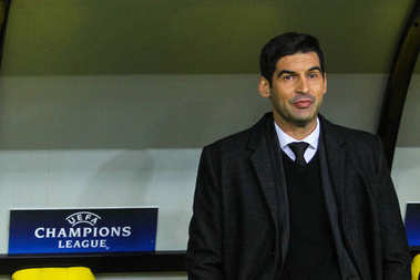KHARKIV, UKRAINE  13 SEPTEMBER, 2017: Manager of FC Shakhtar Paulo Fonseca during the match of the Champions League Shakhtar (Donetsk) - Napoli (Italy) at Metalist stadium (Kharkiv, Ukraine)