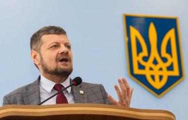 LOKHVYTSIA, UKRAINE  APRIL 12, 2018: People's Deputy of Ukraine Ihor Mosiychuk during a meeting of the Poltava Regional Council