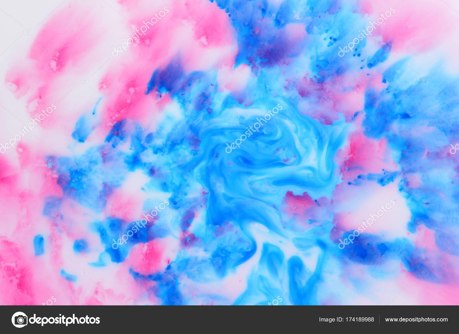 blue pink abstract spots on white liquid pink blue space background pop art texture minimalist background for designer multicolored pattern photo by