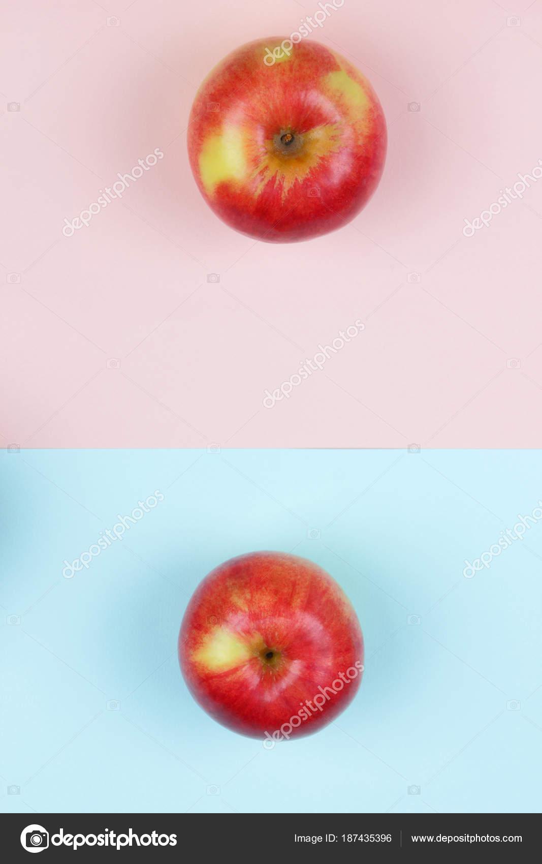 Apple Arte Schiocco Frutta Mela Rossa Una Priorità Bassa Blu Foto