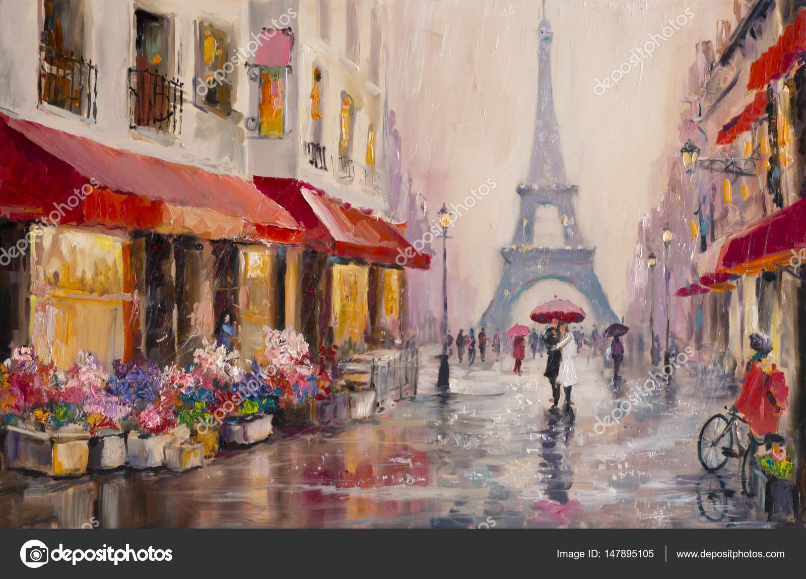Original pintura al óleo sobre lienzo - Paris - Torre Eiffel - una ...