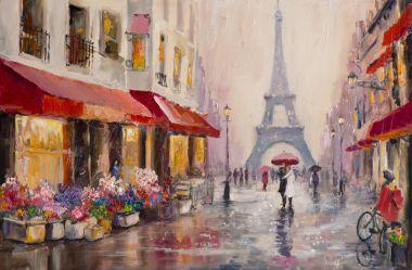 Original oil painting on canvas - Paris - Eiffel Tower - A pair of lovers under an umbrella