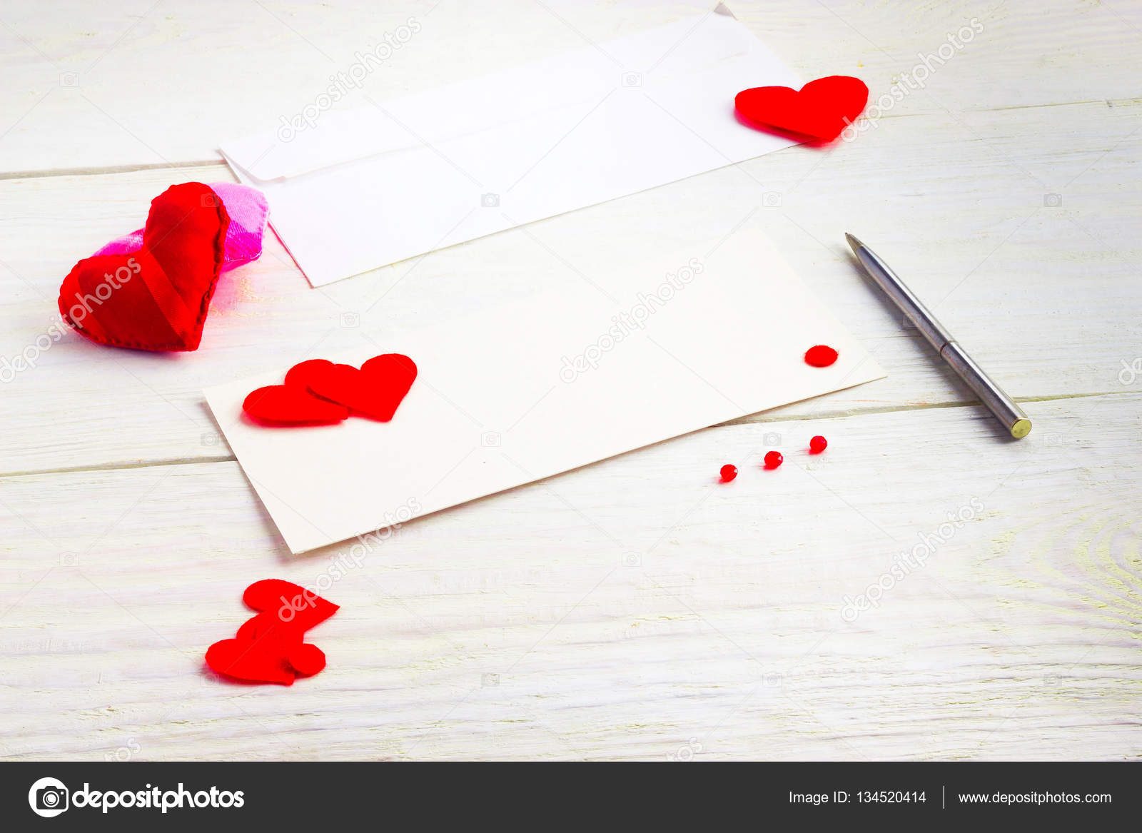 Blank Greeting Cards On Valentines Day Stock Photo 7511819bk