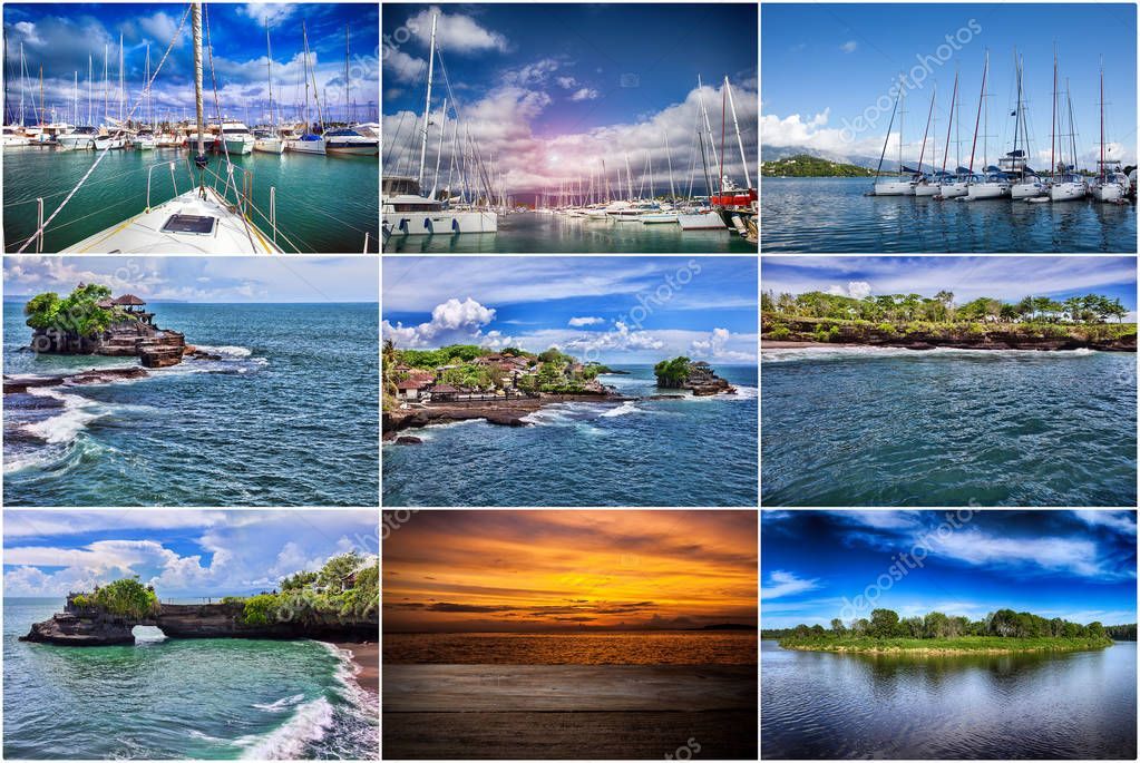 Collage of sea travel. landscapes
