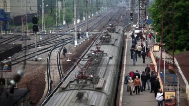 Russia Moscow May 18, 2011: train arrival on station with people