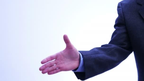Üzleti partnerek kézfogás - férfiak és nők - 4 k
