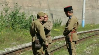 The Soviet army soldiers patrol the facilities. The army of the Soviet Union. Russian Soviet Red Army Infantry Soldiers