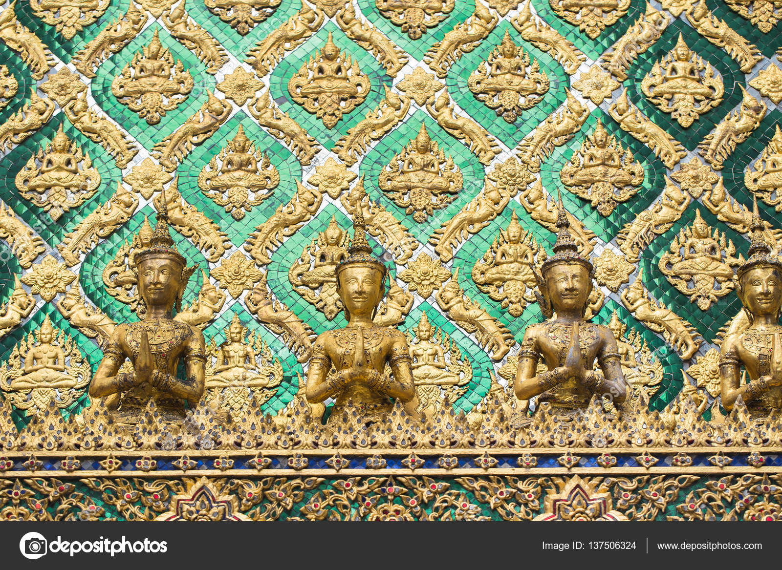 Thai antique art decoration buddhist temple wall — Stock Photo ...