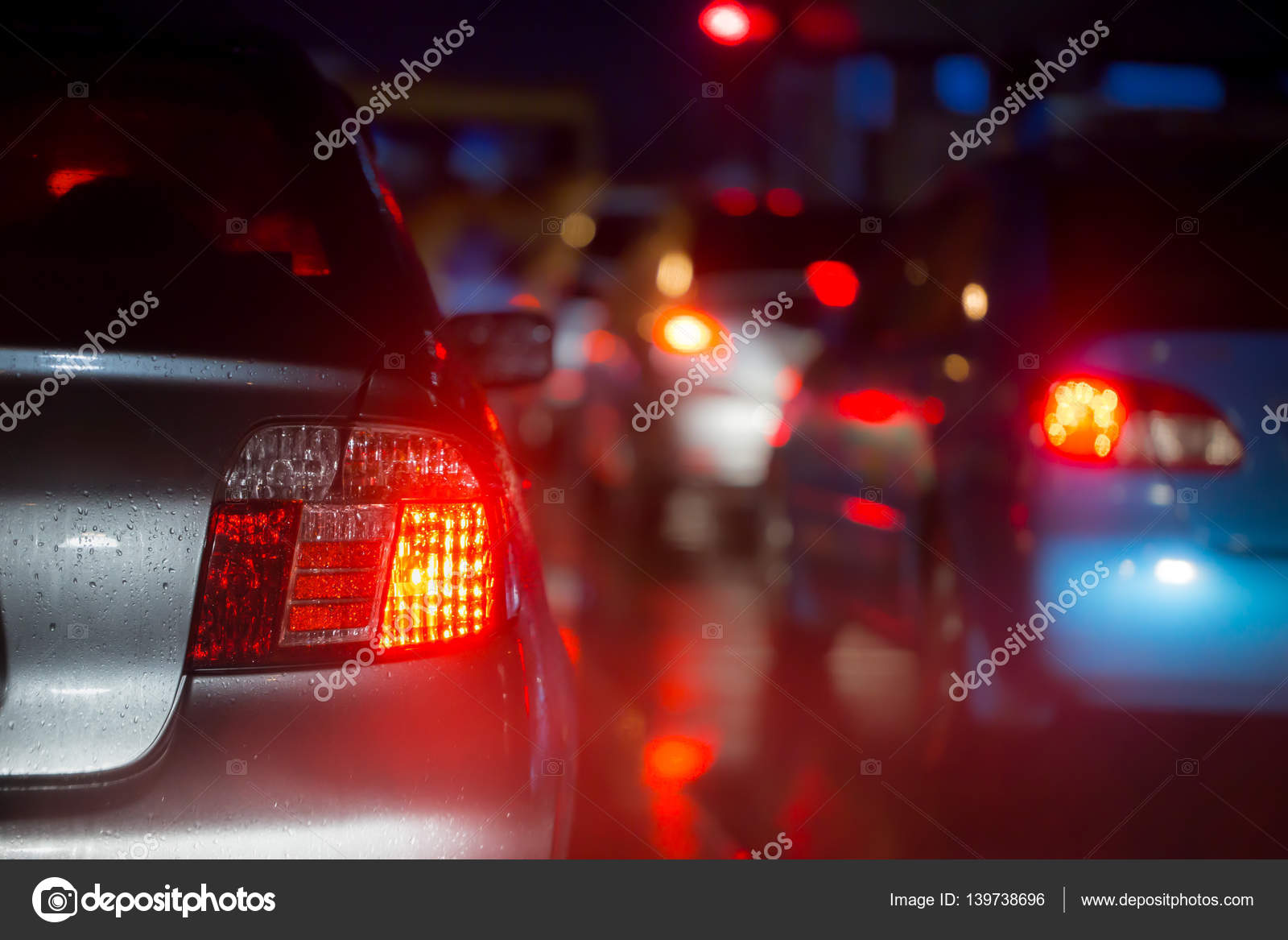Car Brake Light In Raining Night Busy Road Driving In Rain For