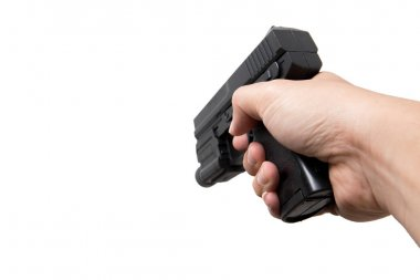 Hand hold gun isolated on white. Shooting posture.