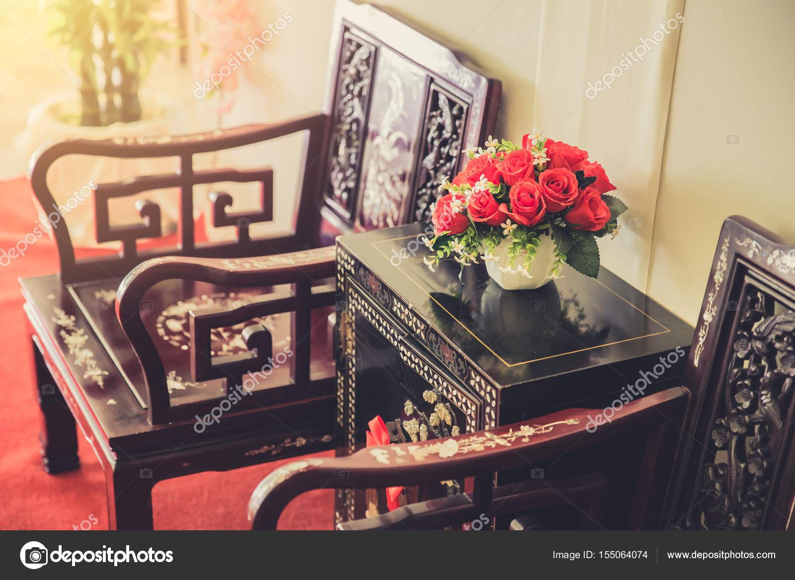 Decoración Interior de estilo chino de los muebles. salón comedor ...
