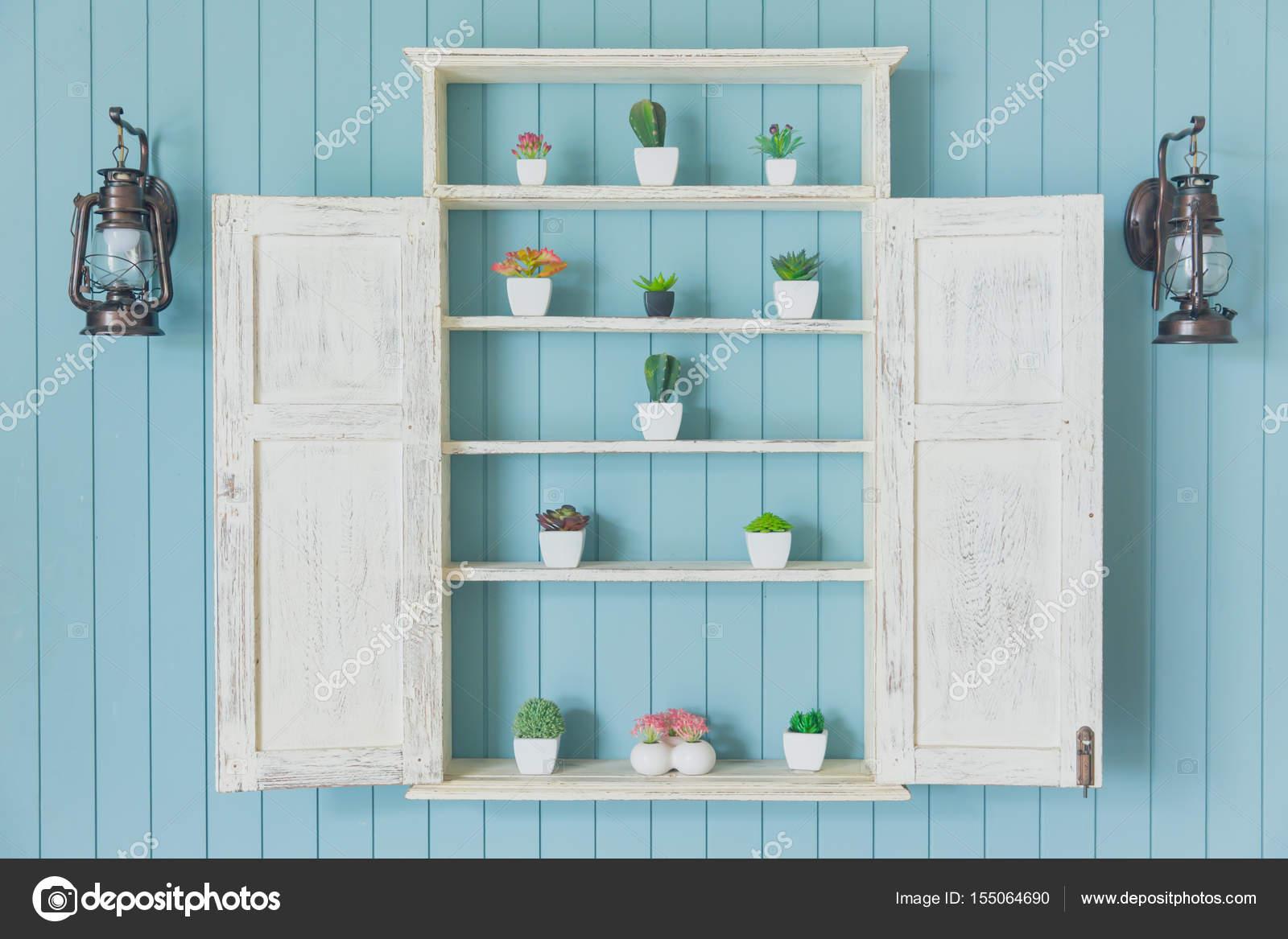 Blauw hout met kleine tuin huis decoratie groene oceaan kleur