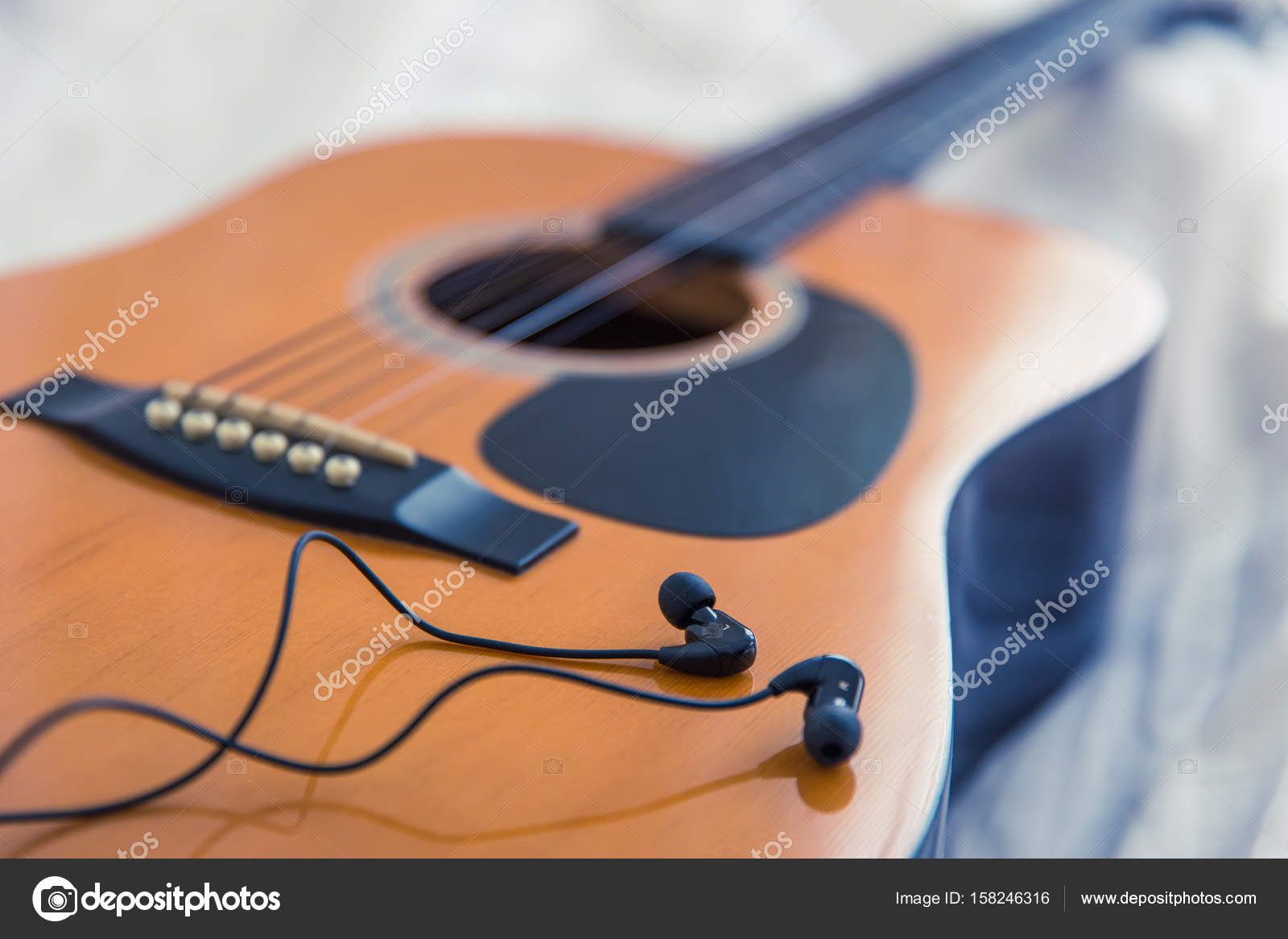 Music In The Bedroom Morning Concept Guitar With White Bed