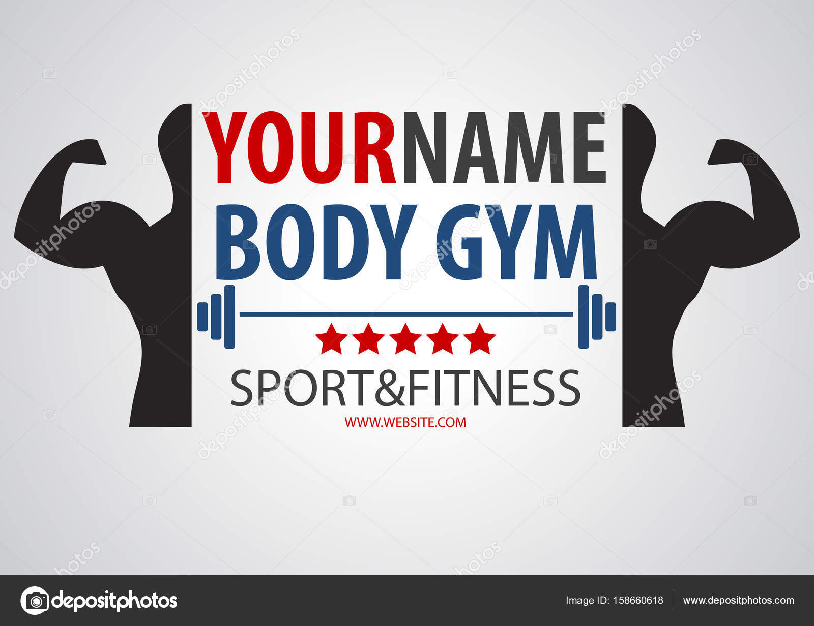 Bodybuilding muscle gym and fitness business logo vector banner ... for Bodybuilding Graphic Design  45ifm