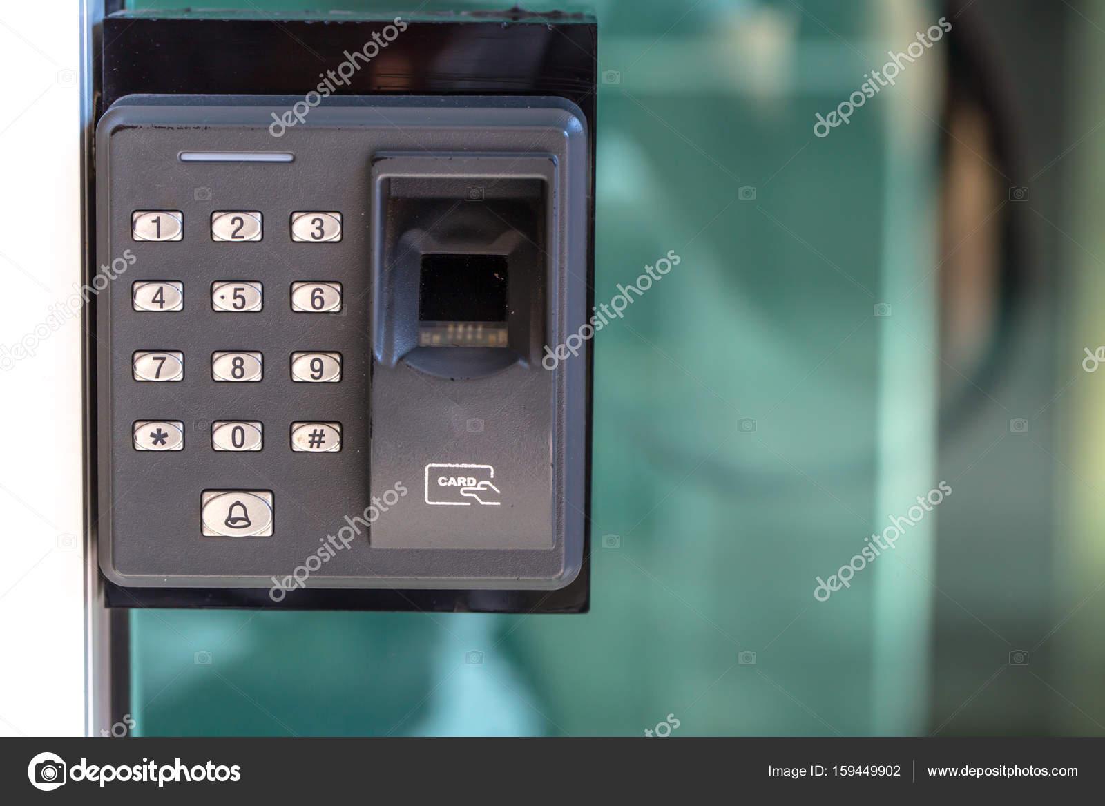 Finger scan security door key lock. u2014 Stock Photo & finger scan security door key lock. u2014 Stock Photo © coffeekai #159449902