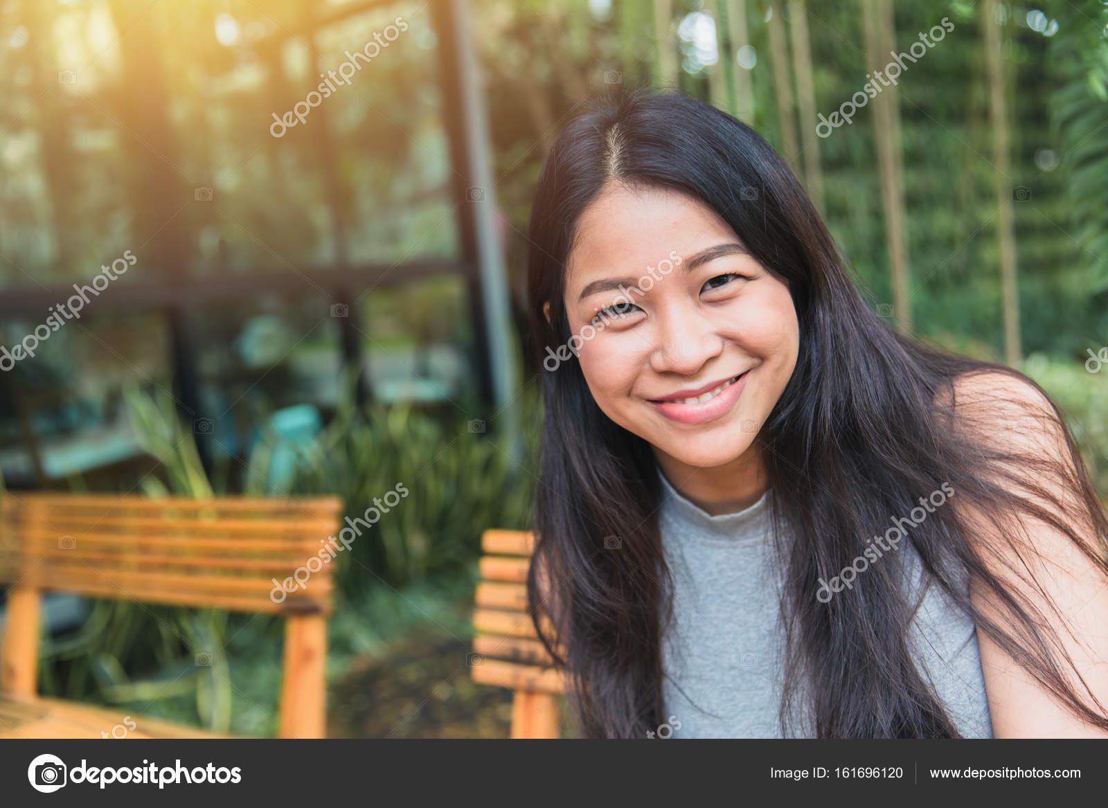 Portait Asian Women Black Long Hair Adult Happy Smile Enjoy In The