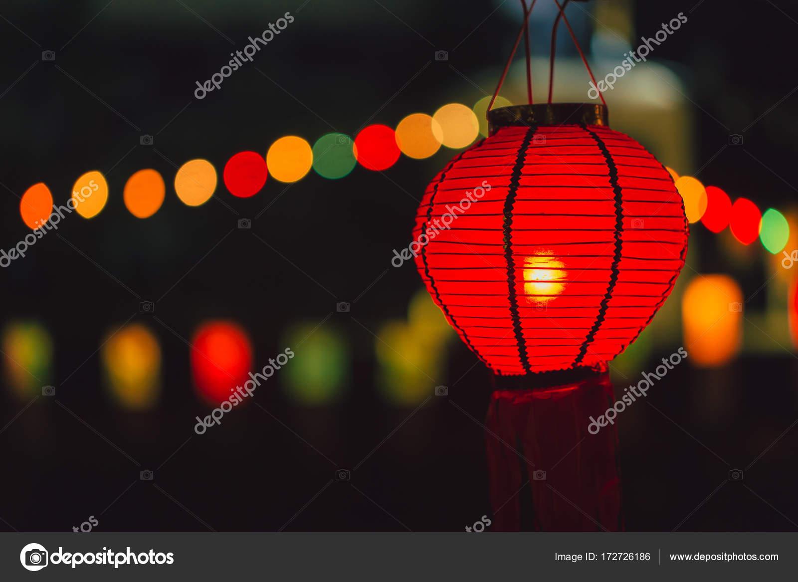 Chinesische Lampe Papier In Der Rot Hängen Farbe — Stockfoto Nacht FKl1cTJ3