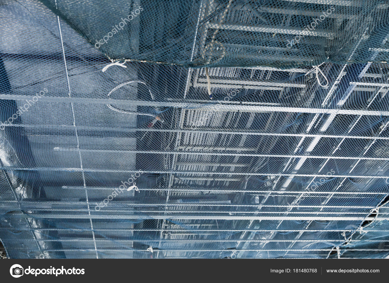 Metal Cable Conduit Flex Pipe Ceiling Constraction Temporary Flexible Wiring Net Stock Photo