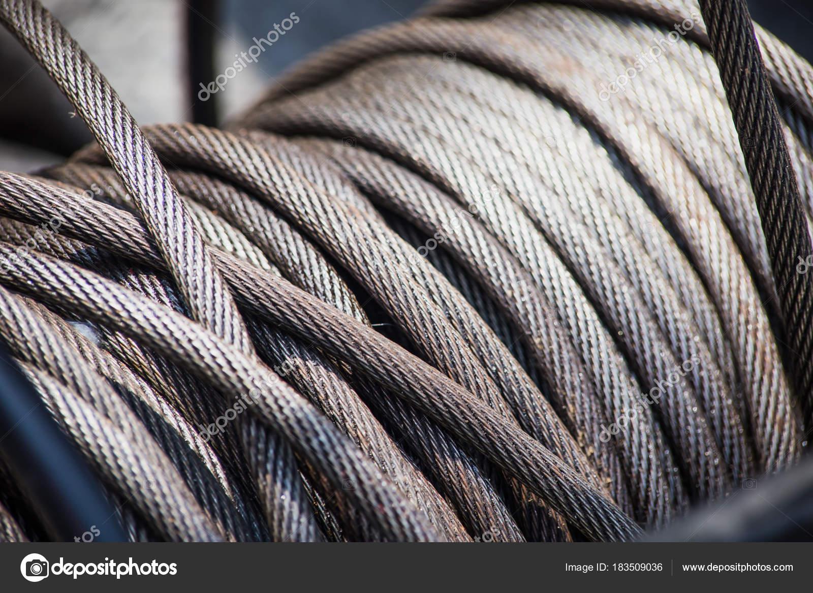 Steel Wire Rope Slings Roll Heavy Duty Grunge Oil — Stock Photo ...