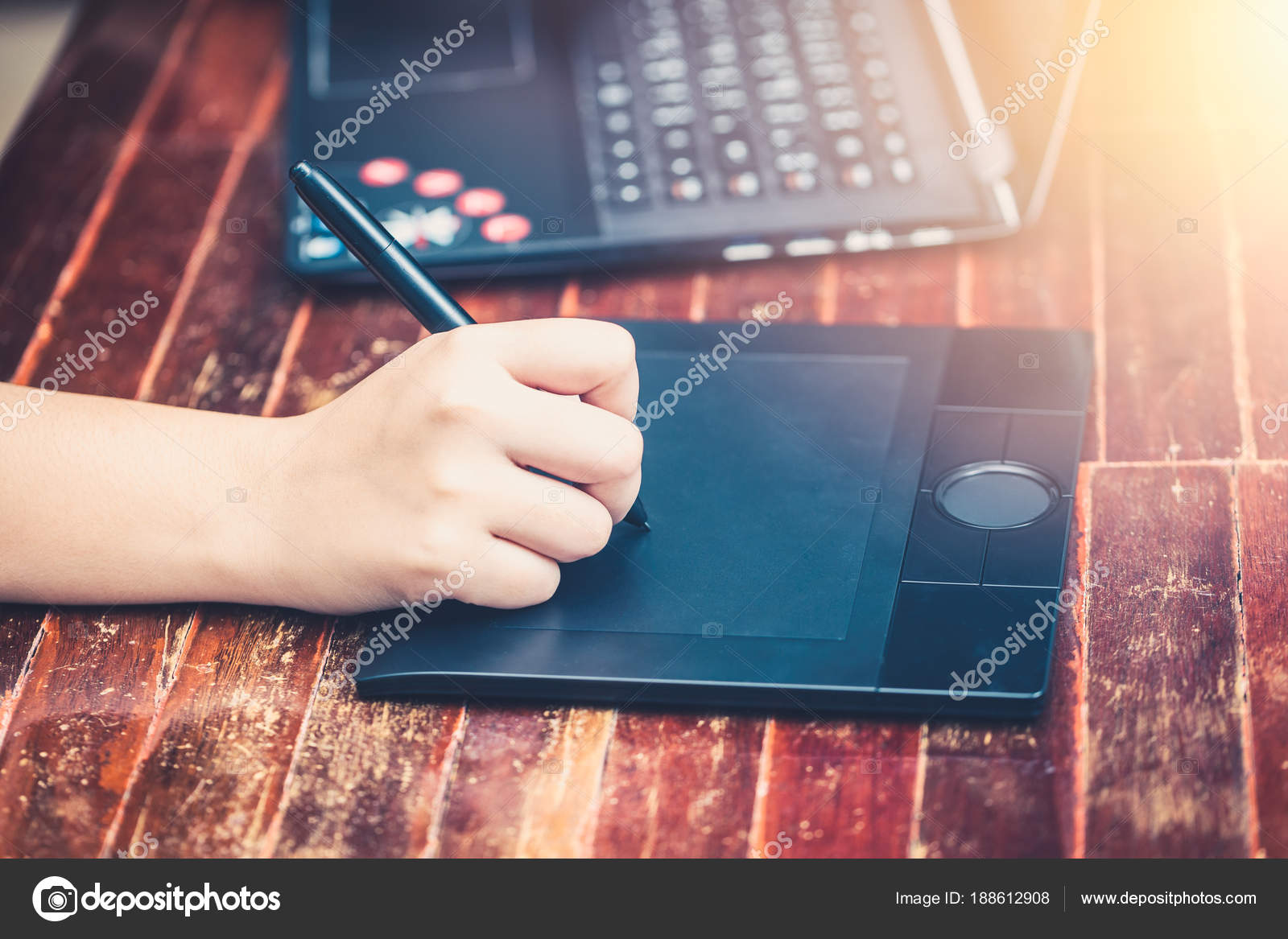 digital artist using stylus pen working computer laptop stock