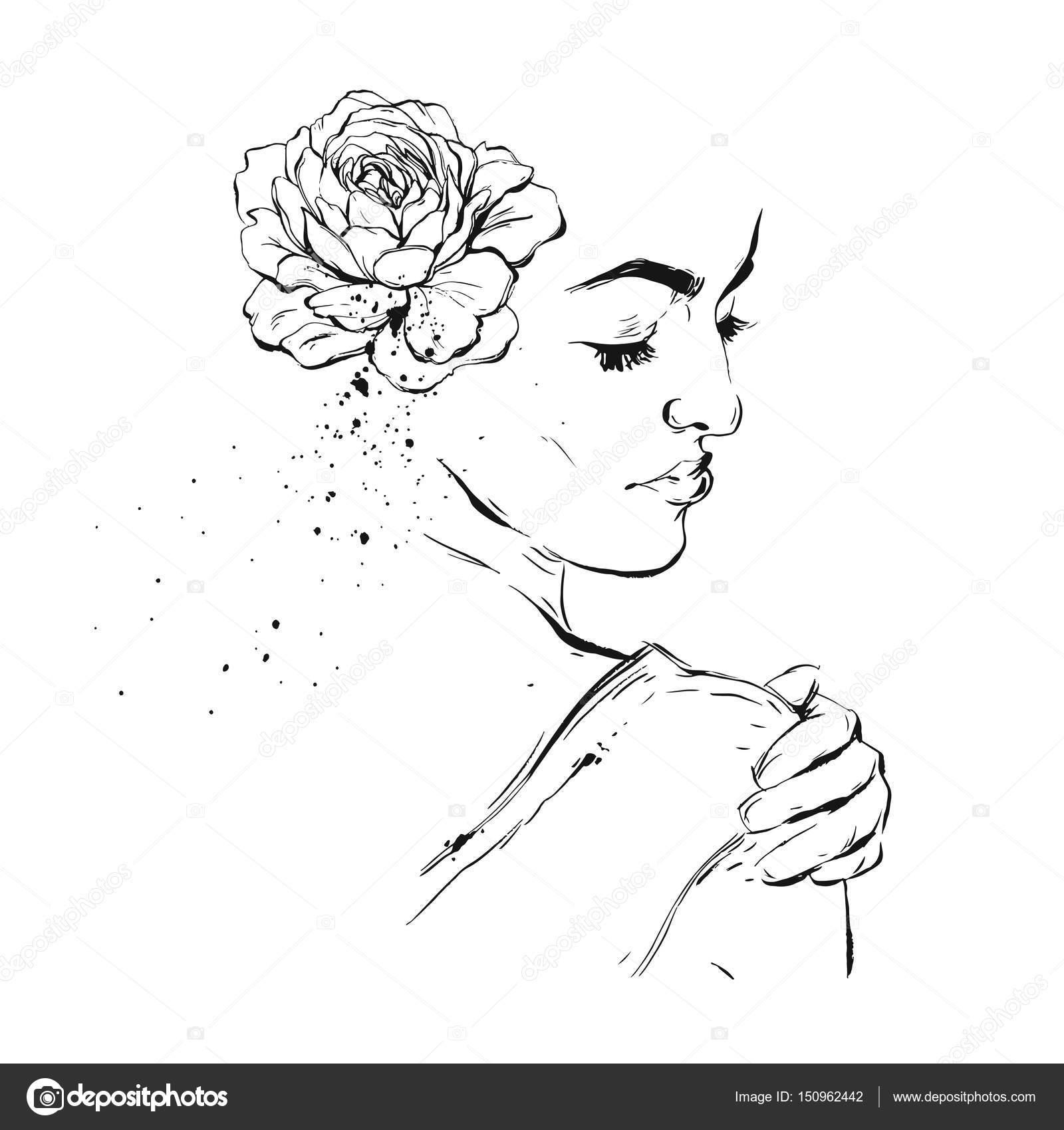 Handgezeichnete Grafik Vektor Tinte Pinsel Gemalt Strukturierte Frau
