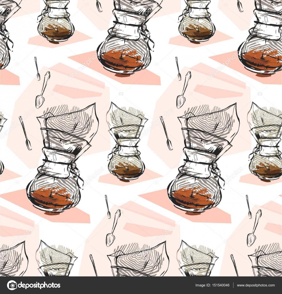 Vector abstracto con textura ilustración gráfica de cafetera y ...