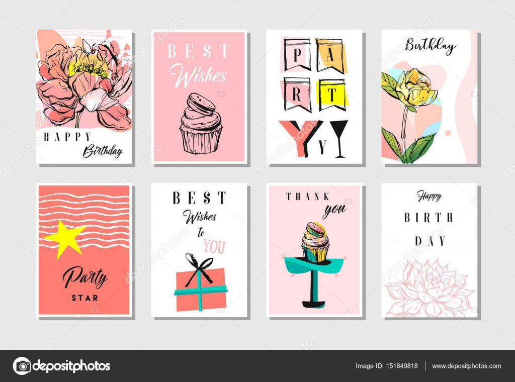 Hand drawn vector abstract textured unusual artistic collage happy hand drawn vector abstract textured unusual artistic collage happy birthday greetings cards collection set templates in bookmarktalkfo Choice Image