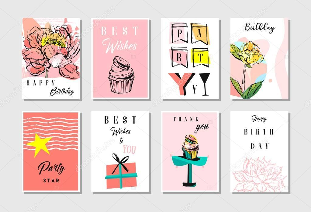 Hand drawn vector abstract textured unusual artistic collage Happy Birthday greetings cards collection set templates in pastel colors isolated.Invitation,decorations,tags,save the date design element