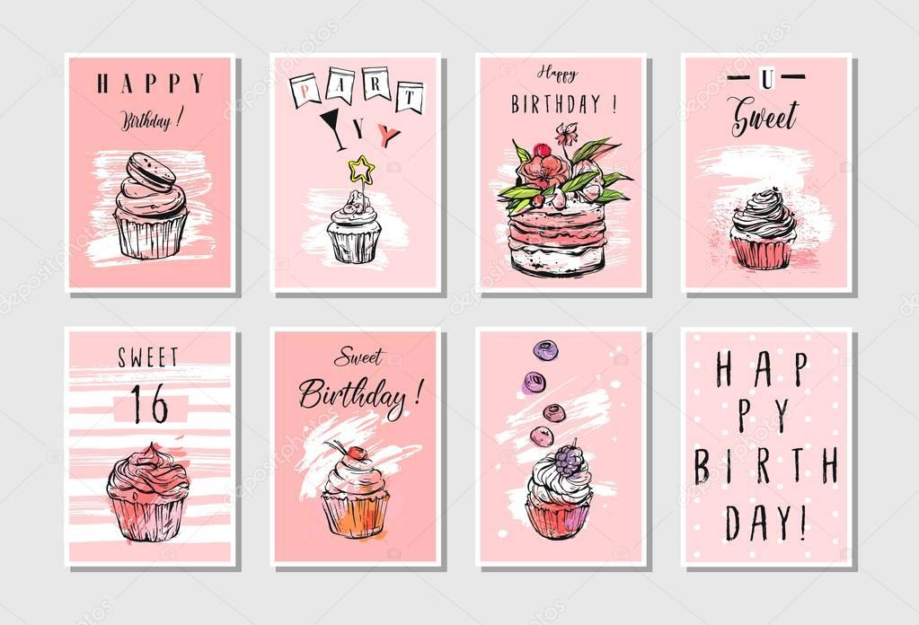 Hand made vector abstract textured unusual artistic collage Happy Birthday greetings cards collection set templates in pastel colors isolated.Invitation,decorations,tags,save the date,party