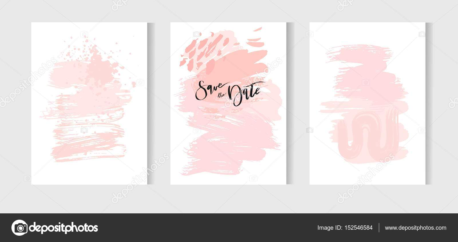 Set of creative universal cards hand drawn textures wedding