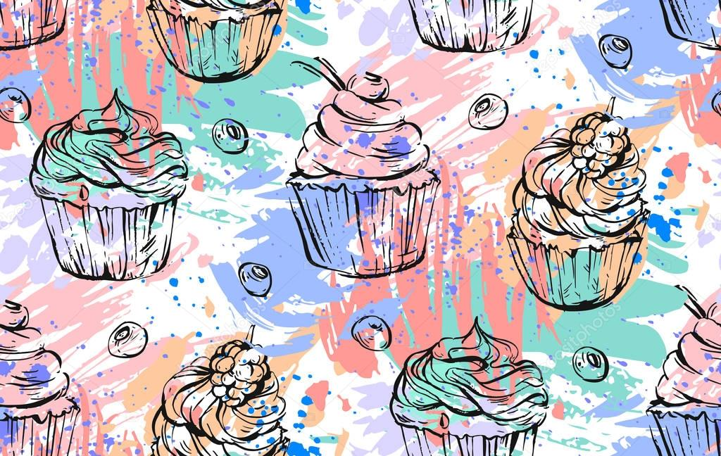 Hand drawn vector abstract freehand painting cupcakes seamless pattern in bright colors.Design for decoration,cake brand,logo,sign,fashion fabric,menu,wrapping paper,shop,web,business