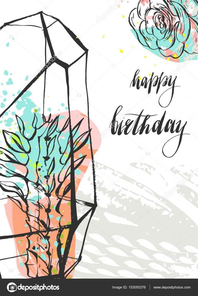 Mano dibujado vector inusual universal feliz cumpleaños tarjetas de ...